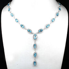 Silver 925 Genuine Swiss Blue Topaz Drop Necklace 20 to 21.5 Inches