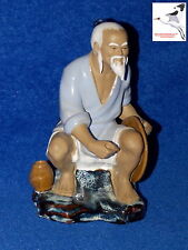 "Chinese Mudman Figurine 'Fisherman' Oriental Ornament Signed Wan Jiang H7"" No.55"