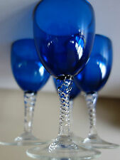 VINTAGE RETRO 50s ! LUSH SEA BLUE W./ TWIST STEM  GLASSES X 4