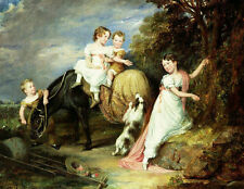 Wholesale oil painting children young girls boy with horse and dog Hand painted
