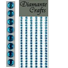 120 x 5mm Turquoise Diamante Self Adhesive Strips Rows Rhinestone Craft Gems