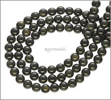 "Black Rainbow Obsidian Round Beads ap.6mm 15.8"" #89002"