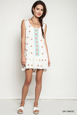 UMGEE OFF WHITE Floral Embroidered Ruffle Dress/Tunic/Swim Cover-up L SASSY SKY