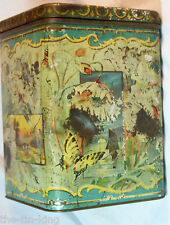 ANTIQUE WHITE POPPIES BUTTERFLY DRAGONFLY FLOWERS TEA MUSTARD BISCUIT TIN C1890S