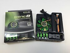 New Gelid Solutions Wing8 UV Green 80mm Fan With Green Fan Mounts &Speed Control
