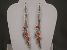 "silver Orange feather earrings triple multi chain dangle 3.5"" long lightweight"