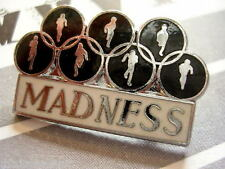 MADNESS - BLACK+WHITE KEEP MOVING PROMO ENAMEL BADGE - SUGGS SKA TWO TONE STIFF