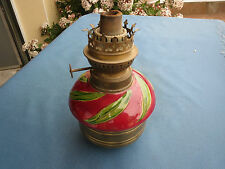 ANCIENNE LAMPE A PETROLE  PIANO FAIENCE BARBOTINE FRENCH ANTIQUE