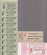 PACIFIC OCEAN PARK GROUP OF UNUSED 1959 AND 1960'S TICKETS-VERSION #1