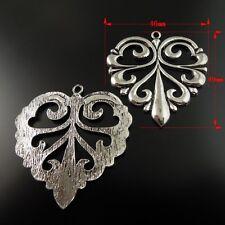 Antique Style Silver Alloy Flower Teardrop Heart Pattern Pandent 49mm 8pcs 35484