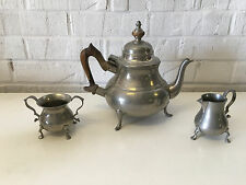 Williamsburg Restoration Kirk Stieff Pewter 3 Piece Tea Set Primitive Style