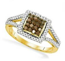 Wow! 100% 10K Yellow Gold Chocolate Brown & White Diamond Ring Band .50ct