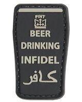 Beer Drinking Infidel PVC Rubber Military Cap Ubacs Badge Hook Back TRF BLACK