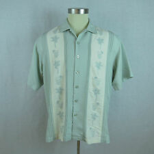 Embroidered Plam Trees & Cocktails Mens Large Lt Green Hawaiian Casual Shirt