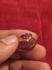����Vintage Fine Solid 14k Yellow Gold Ladies Ruby & Diamonds Sz 6 1/2 Ring����