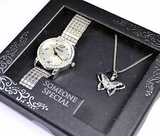 Ravel Ladies Expander Watch & Butterfly Pendant Necklace Someone Special Gift