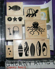 STAMPIN UP SUMMER SPLASH 7 RUBBER STAMPS OCTOPUS SURF BOARDS FISH TURTLE BEACH