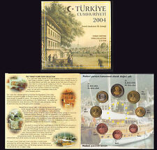 TURCHIA TURKEY 2004 EURO PATTERN PROTOTYPE 8 COINS COLLECTION FDC UNC LIMITATA