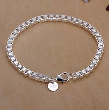 New Women Fashion Jewelry 925 Sterling Silver Box Chain Bracelet 7 1/2 Inches