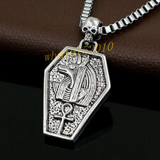 Stainless Steel Skull Egyptian Anubis Ankh Cross Pendant Chain Necklace Gift