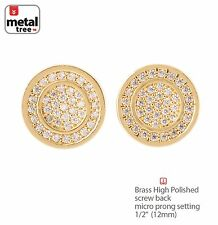 Hip Hop Men's Brass 14 Gold Plated Flat Round Screw Back Stud Earring BE 027 G