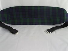 (A) TARTAN-Black/Green/Navy Mens Polyester Cummerbund + Matching Hankie - Watch