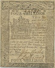 1777 DELAWARE 4 SHILLINGS COLONIAL CURRENCY NOTE - NICE SHARP & BRIGHT NOTE !