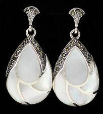 Hermoso Estilo Art Deco De Madre Perla Marcasita Aretes 925 plata esterlina