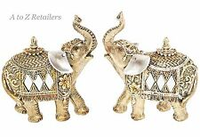Gold Pearl 2 Elephants Animals Figures Ornaments Home Decor Art Gifts 60040