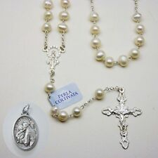 Cultured Pearl Rosary / Sterling Silver - Bonus St. Anthony Relic Medal