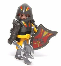 Playmobil Figure Castle Black Knight Helmet Double Axe Sword Shield Special 4646