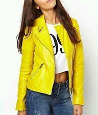 New Women Genuine Soft Lambskin Designer Leather Biker Jacket S,M,L