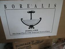 BOREALIS CELLING LIGHT P/N 104082-ORB 3 BULB TRUSCAN SCAVO GLASS