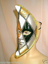 Crescent Moon Shape Venetian Harlequin Carnival Face Mask Metallic Silver Gold