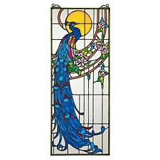 Peacock Sunset Stained Glass Window Panel Tiffany Style Suncatcher Roses Feather