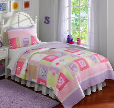 Owls, Pink, Purple, Green, Nature, Girls Twin Quilt & Sham Set (2 Piece Bedding)