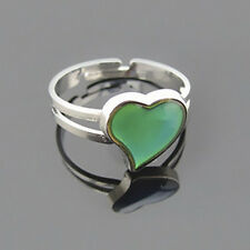 Silver-Plated Heart-Shaped Mood Ring Changing Color Adjustable Ring Fashion