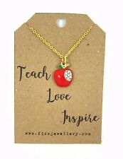 """Teacher Gift """"Teach Love Inspired"""" Gold Plated Apple Charm Necklace Message"""