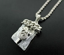 "ICED OUT 14K WHITE GOLD FINISH SILVER MICRO MINI JESUS PENDANT & 30"" ROPE CHAIN"
