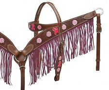 Breast Cancer Awareness Headstall & Breast Collar Set Pink Suede Leather Fringe