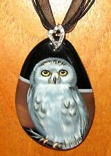 Russian hand painted WHITE OWL BIRD Brown Black STONE pendant signed Gorbachova