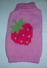 Very Cute Pink Strawberry Dog Knitted Sweater Jumper S