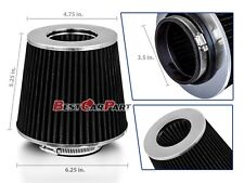"""BLACK 3.5"""" 89mm Inlet Cold Air Intake Cone Replacement Quality Dry Air Filter"""