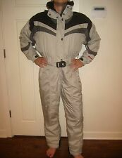 Silver Mens Medium NORDICA Onesie Snow SKI Suit BIB Coat Jacket vtg Snowsuit M