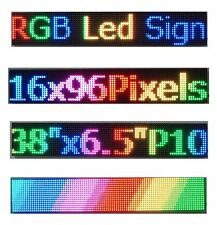 "38""x 6.5"" RGB Full Color P10 LED Sign Programmable Scrolling Message Display"