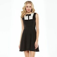 LAUREN CONRAD Black Sleeveless Scallop Bow Ponte Dress Fit And Flare Size 6 NWT