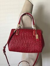 Coach 49723 Classic Red Madison Gathered Twist Leather Mini Satchel Crossbody