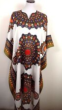 Dashiki Satin TUNIC Caftan Batwing Maternity Dolman Maxi Dress White BOHO One Sz