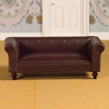 Dolls House Miniature 1/12 Scale Classic Brown Leather Look Sofa - Emporium 3957
