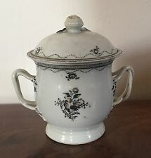 Antique Chinese Export Porcelain Sugar Bowl Sucrier & Lid 19th c. 1800 Federal